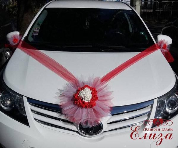Украса за сватбена кола в червено E1